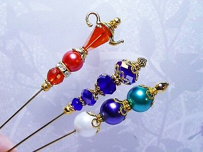 3 Hatpins Sticks PINS Teapot Pearls Varous styles Crystals Lovely GIFTS! SALE!!!