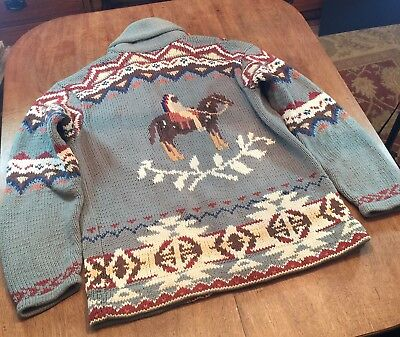 VTG Polo Ralph Lauren Hand Knit Southwestern Indian Shawl Sweater Cardigan M L