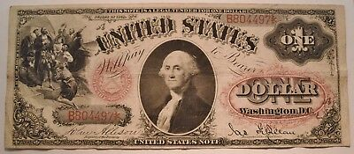 1878 $1 United States Legal Tender Note, Middle Grade One Dollar, Original U.S.
