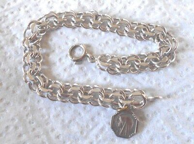 Vintage Good Double Link Charm Bracelet With Small Religious Charm   #170