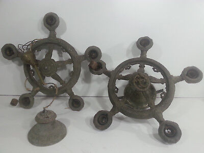 Pair of Antique wrought iron STAR candelabra chandeliers hanging light fixtures