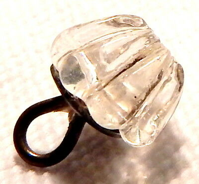 ANTIQUE EARLY 19th CENTURY CRYSTAL CLEAR GLASS JELL-O MOLD WAISTCOAT BUTTON