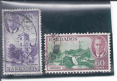 BARBADOS...# 224-25  ( 48 & 60 Cents )...1950...Used...SCV $ 22.75