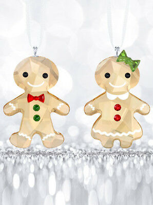 NEW Swarovski Crystal Gingerbread Couple Ornament Set 5281766