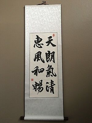 Hand Made Asian Chinese Scroll Calligraphy Wall Decor Home Decor
