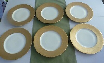 """SET OF 6 K & A Krautheim Selb Bavaria Gold Encrusted 11"""" DINNER CHARGER PLATES"""