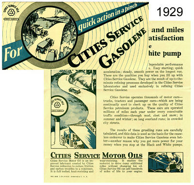 Vintage 1929 Cities Service Gasoline and Motor Oil Advertising Brochure