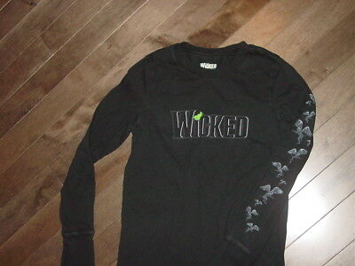 WICKED Broadway Musical About Wizard Of Oz Long Sleeve Black T-Shirt Size S