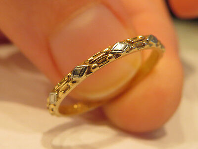 14K Vintage Antique Art Deco Floral Wedding Anniversary Eternity Band Stack Ring