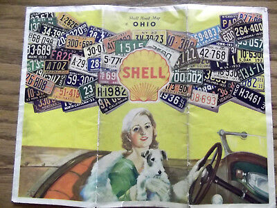1933 Shell Gasoline Motor Oil Ohio Road Map / License Plate Cover / OH