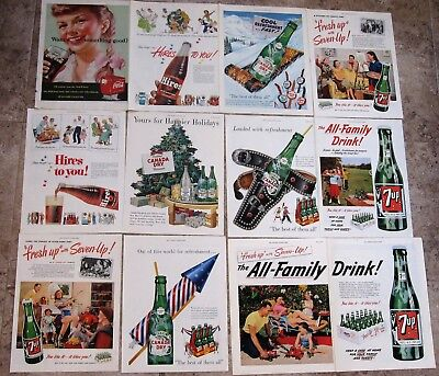 Coke, 7UP, Ginger Ale, Root Beer 1950s Ads 16 different
