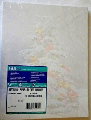 100 Sheet Christmas Frosted Tree Heavy Weigh Printer Copy Paper 8-1/2 X 11 NEW
