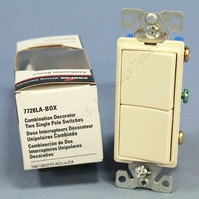 New Cooper Combo Decorator Lt Almond DUAL Rocker Light Switch Duplex 15A 7728LA