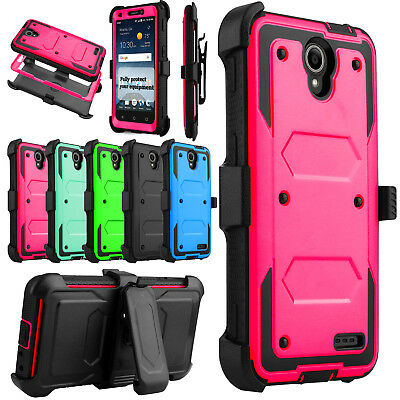 For ZTE Maven 3 Z835 /Overture 3 Hybrid Holster Clip Hard Stand Phone Case Cover