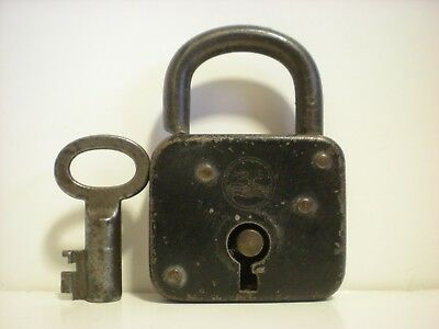 Antique Old Vintage Abus Lock Co. padlock & hollow barrel key made in Germany