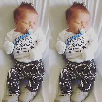 Newborn Baby Clothes Spring Bear Romper Bodysuit + Pants Baby Boy Girl Outfits