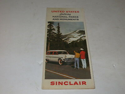 % 1950's SINCLAIR OIL UNITED STATES NATIONAL PARKS AND MONUMENTS ROAD MAP %