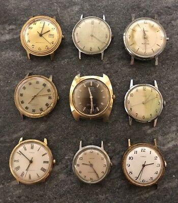 Vintage Timex Retro Lot Of 9 Watches For Parts Or Repair Need Serviced W/ Marlin