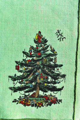 Vintage Christmas Linen Placemats with Napkins Xmas Tree Green Vintage Dyetopia