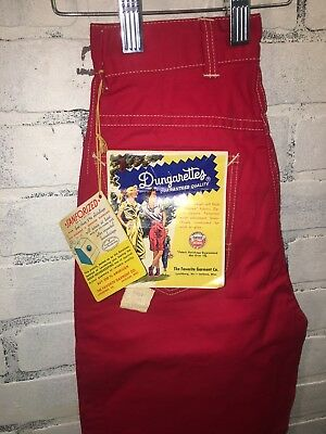 Authentic 1950's Vintage Turner Togs Red Dungarettes Girl Lower Buy Now price