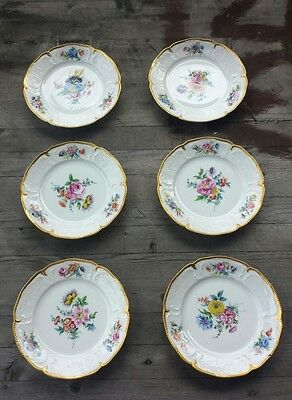 Gorgeous Set of Six Vintage Handpainted Rosenthal Porcelain Dessert Plates