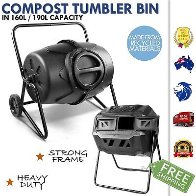 Mobile Compost Tumbler Garden Recycling Soil Large Outdoor Bin 160L / 190L New