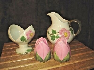 FRANCISCAN DESERT ROSE LOT Pair Salt & Pepper 1 Candlestick 1 Creamer Pitcher