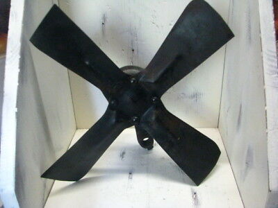 Large Vintage Steel Metal Industrial Fan Blade with pulley, spins
