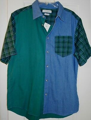 NEW Mens UO Urban Outfitters Plaid Colorblock Patchwork Green Blue Denim Shirt~L