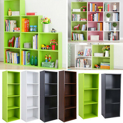 3 4 Shelf Wood Bookcase Storage Shelving Bookshelf Furniture Cabinet Organizer