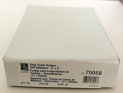 """C-Line Self-Adhesive Shop Ticket Holders 5"""" x 8"""" 70058 Business Insert Sleeves"""