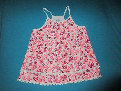 JUSTICE Girls Pink White Floral Tank Top Size 12