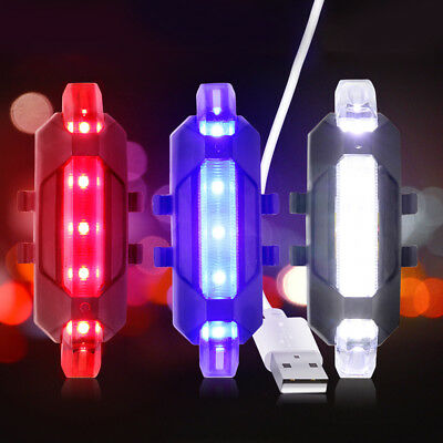 Waterproof LED Tail Light Rechargeable Warning Night Bycicle Rear Light Lamp
