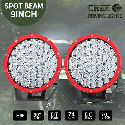 7inch CREE SPOT LED Driving Lights Off Road 4WD Round Spotlights RED 97500W