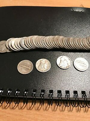 Mercury Dime Roll of 50 Coins Circulated VF/XF