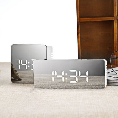 Rectangle Multifunctional Noiseless LED Mirror Clock Display Time / Temperature