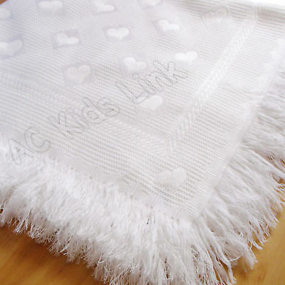 New White Shawl Baby Boys Girls Blanket Shawl with Fringe Hearts Design