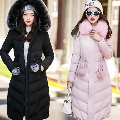 New Womens Winter Hooded Coat Fur Duck Down Parka Jacket Long Lady Outerwea