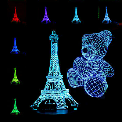 3D Panel Acrylic Board Plate Bear Eiffel for Color Change LED Night Light Lamp