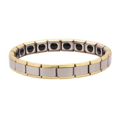 Silver And Gold Titanium Steel Magnetic Bracelet For Men Natural Pain Relief UK
