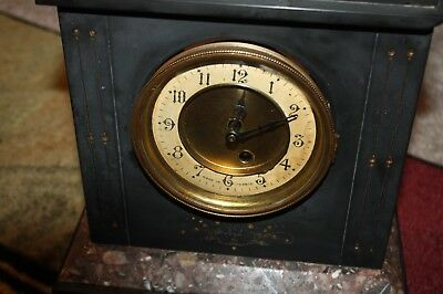 Antique 1920s Black Marble French (France) Winding Movement Vintage Clock, Winds
