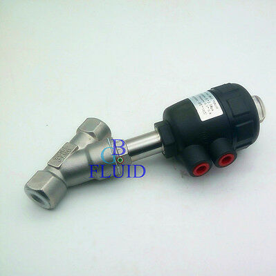 "DN15 1/2"" BSPP Stainless Steel Single Acting Air Actuated Angle Seat Valve N/C"