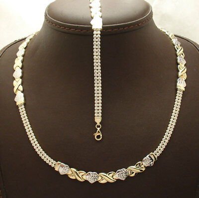 Hearts & Kisses Bracelet Necklace or Set Tennis Chain Real 10K Yellow White Gold
