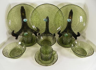 Anchor Hocking Soreno Avocado Glass Luncheon 12-pc LOT Dinner Plate Bowl Cup