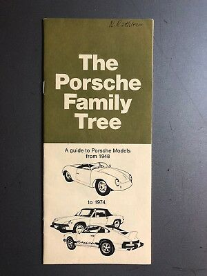 "1974 Porsche ""The Porsche Family Tree"" Showroom Sales Brochure RARE Awesome L@@K"