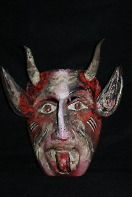 052 DEVIL MEXICAN WOODEN MASK WALL DECOR diablo hand craft madera artesania art
