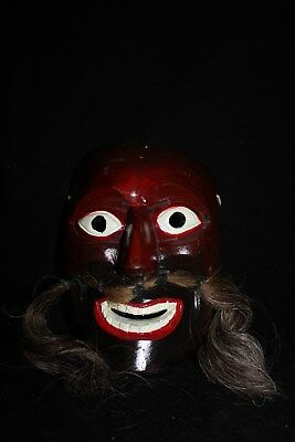 058 FACE DANCE BIGOTON CARVED MEXICAN WOODEN MASK mascara bigote real horse