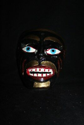 060 FACE DANCE MEXICAN WOODEN MASK mascara danza el negrito artesania WALL DECOR