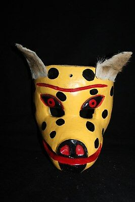 067 DOG MEXICAN WOODEN MASK WALL DECOR HANDCARVED crafted perro madera folk art