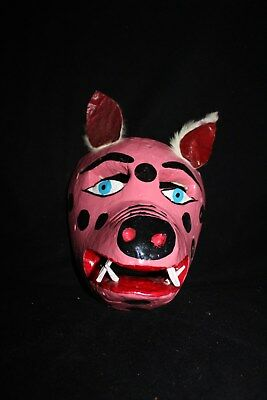 075 PIG MEXICAN WOODEN MASK WALL DECOR HANDCARVED crafted cochinito marranito